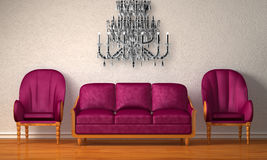 Chairs with purple couch and glass chandelier Royalty Free Stock Photos