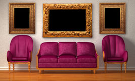 Chairs with purple couch and picture frames. Two luxurious chairs with purple couch and picture frames in minimalist interior Stock Image