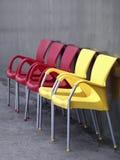 chairs röd yellow Royaltyfria Bilder
