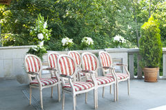 Chairs ready for wedding ceremony Stock Images