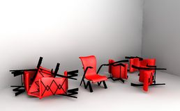 chairs red Royaltyfria Bilder