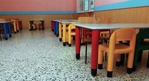Chairs of a refectory of the school canteen Royalty Free Stock Images