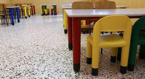 Chairs of a refectory of the school canteen in the school Royalty Free Stock Images