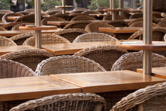 Chairs in restaurant. Rows of chairs in restaurant garden Royalty Free Stock Photography