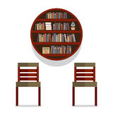 Chairs With Round Bookshelf On Wall Stock Photos