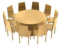 Chairs round table. 3d golden chairs rounded table Stock Photography