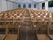 Chairs in row. Ready for a conference stock images