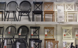 Chairs on sale at the store Stock Photos