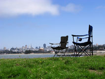 Chairs and San Francisco Royalty Free Stock Photos