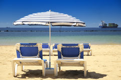 Chairs on a sandy beach Royalty Free Stock Image