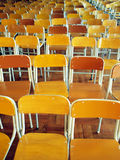 Chairs in school hall. Rows of chairs in secondary school hall Stock Photo