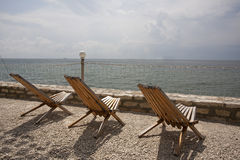 Chairs with sea view Stock Photo