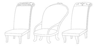 Chairs set, contour Stock Images