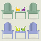 Chairs Set With Fruit Juice Glasses Stock Photos