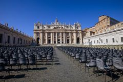 Prepared to preach to the masses. The chairs are set up in St. Peters Square ready to receive the audience stock images