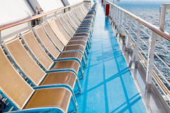 Chairs on side of cruise liner Stock Photos