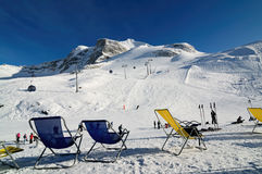Chairs on the ski piste in Hintertux Royalty Free Stock Photography