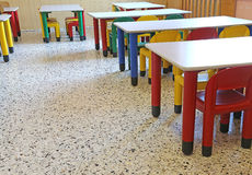 Chairs and small tables in the dining room of the nursery Royalty Free Stock Photography