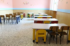 Chairs and small tables of the refectory in early childhood scho Royalty Free Stock Photo
