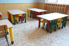 Chairs and small tables of school refectory for children Royalty Free Stock Images