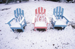 Chairs in snow Stock Photo