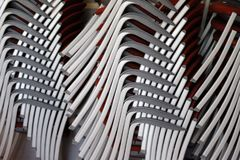 A stack of stacked chairs Stock Photo