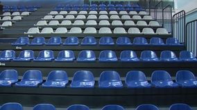 Chairs at the stadium. Zoom stock video footage