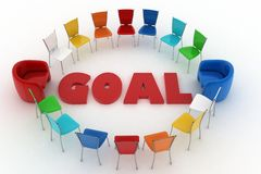 Chairs stand around the word goal Stock Photography
