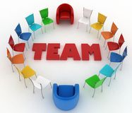 Chairs stand around the word team Stock Photos