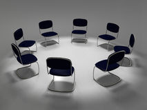 Chairs standing in a circle. Several office chair standing in a circle royalty free illustration