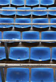 The chairs of the stands of a football stadium Stock Photos