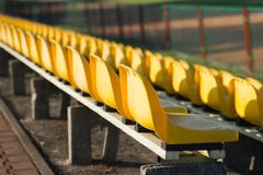 Chairs in the stands. Of the stadium Royalty Free Stock Photo