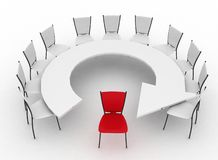 Chairs stands at a table as an arrow Royalty Free Stock Images