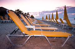 Chairs at sunset Stock Photo