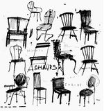 Chairs. Symbolic image of chairs are made in the style of quick sketches Stock Photos