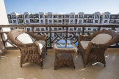 Chairs and table on balcony Royalty Free Stock Images