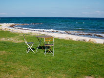 Chairs and table on a beautiful beach Stock Photography