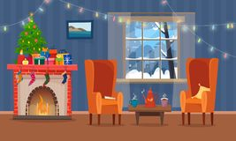 Chairs and table with cus of tea or coffee, cookies and pillow. Christmas fireplace with gifts, socks and candles. Winter window with lights. Flat cartoon Stock Image
