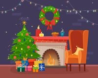 Chairs and table with cus of tea or coffee, cookies and pillow. Christmas fireplace with gifts, socks and candles. Winter window with lights. Flat cartoon Stock Photos