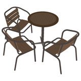 Chairs and table 3d view. Exterior Features Stock Photos
