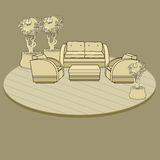 Chairs, table and flowers in pot on terrace or room. royalty free illustration
