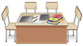 Chairs and table full of books Royalty Free Stock Photo