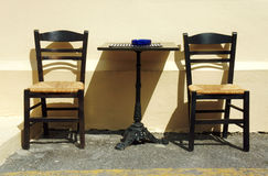 Chairs and table in a Greek tavern Royalty Free Stock Photography