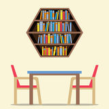 Chairs And Table With Hexagon Bookshelf On Wall Royalty Free Stock Image
