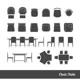 Chairs and table icon Royalty Free Stock Image