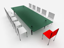 Chairs and table. Leadership concept Stock Image
