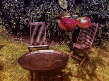chairs and table with red apples Royalty Free Stock Image