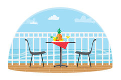 Chairs and Table on the terrace balcony in the restaurant View over the sea. Water landscape. Pineapple. Flat vector. Chairs and Table on the terrace balcony in Royalty Free Stock Photo