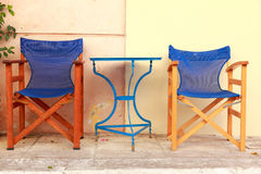 Chairs and tables cafe in Athens Stock Image