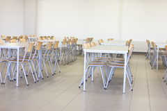 Chairs and tables. Tables and chairs in the dining room Stock Photo